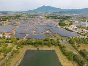 池の奥には、巨大なソーラーパネル地帯が広がっています。
