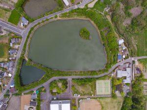 大池には、浮島があります。